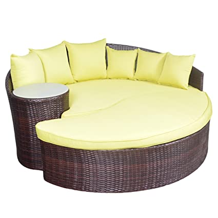 YOTO RATTAN Taiji Outdoor Wicker Patio Sofa Daybed Sun Bed Furniture Round  With Ottoman (Solid