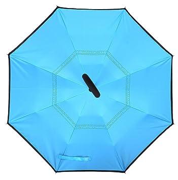 UMmaid Doble capa de Paraguas Invertido, Parasol de Protección Contra el Viento Ultravioleta de Reversa