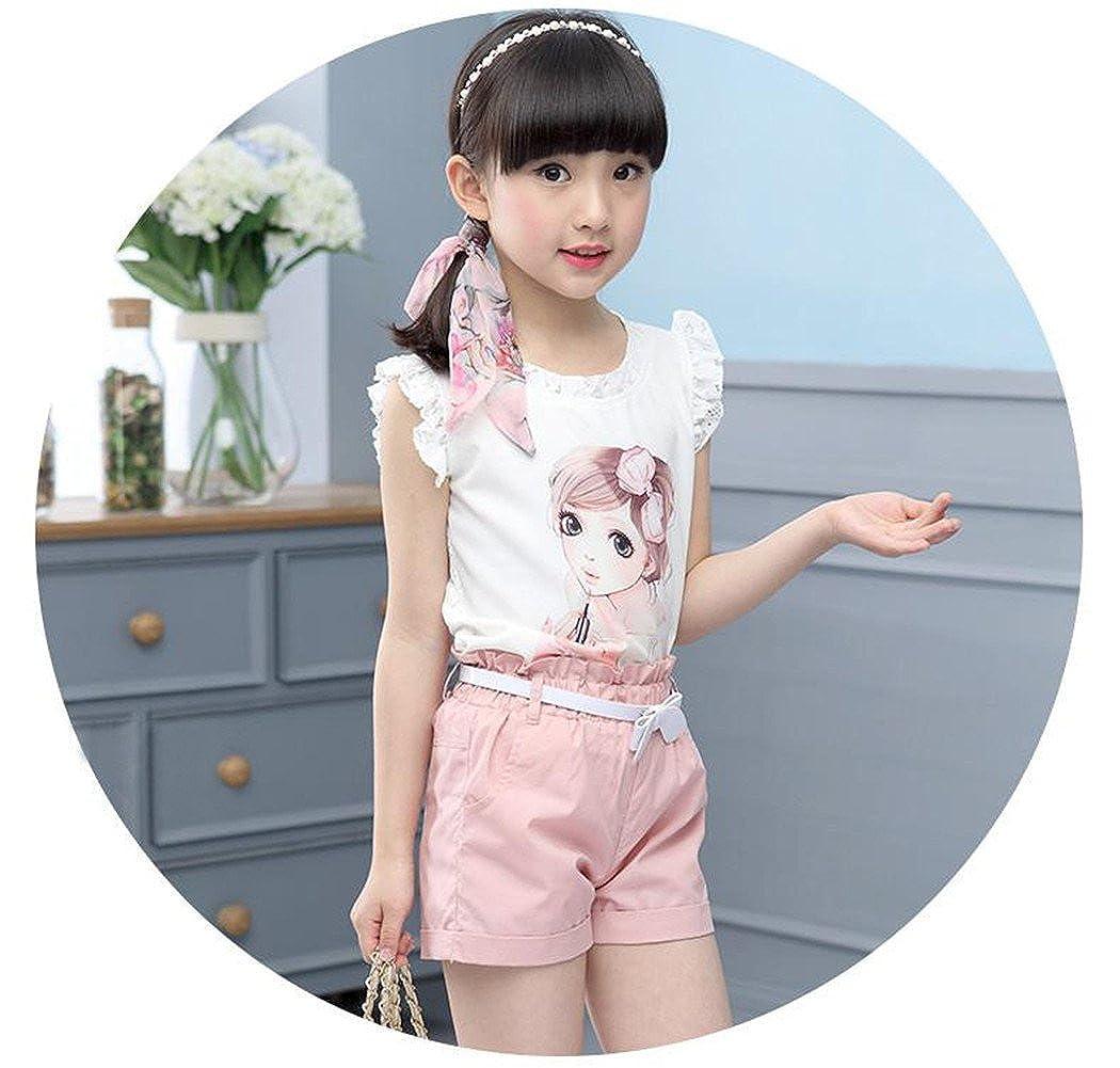 Shorts FTSUCQ Girls Beauty Printed Sleeveless Shirt Top Belt