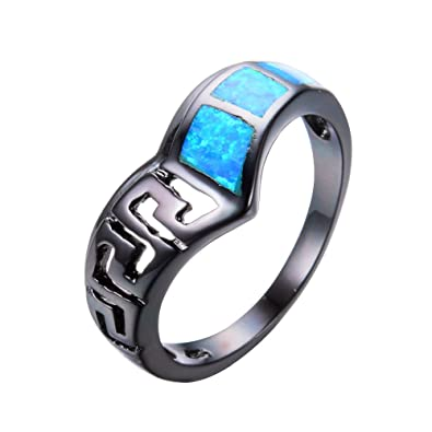 3f88b2133e CHIC Cute Jewelry Ocean Blue Fire Opal Ring Black Gold Filled Wedding Party  Hollow Pattern Ring