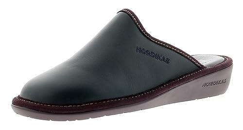 Nordikas Mujer de Piel Zapatilla con Forro Textil - Azul Marino - GB Tallas 3-8 - Azul Marino, 40 EU: Amazon.es: Zapatos y complementos