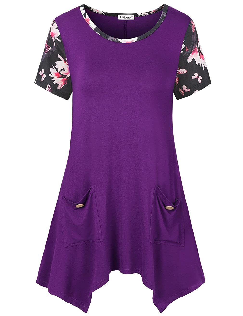 2d3ea0ea7c9 ... (XL) 40.2 inches (XXL) 42.1 inches,please check the size before  ordering,thank you. Tshirt Dress with Stripes - Short Sleeve / Loose Fit / Scoop  Neck ...