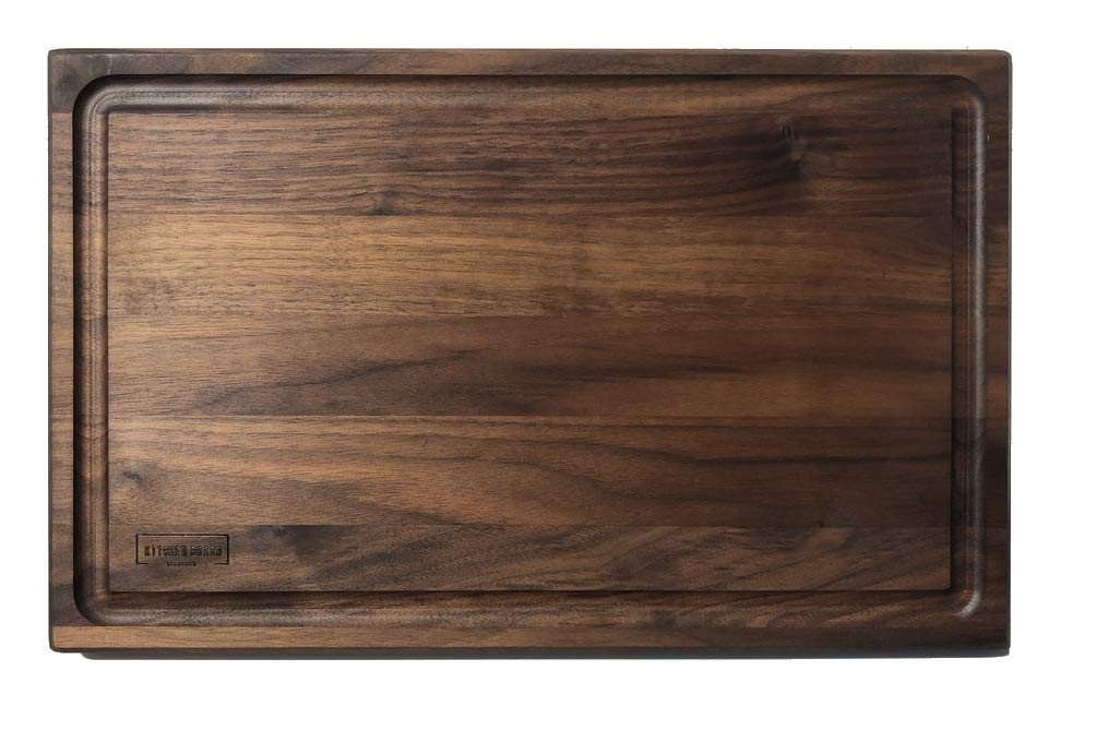 Walnut Wooden Cutting Board by Kitchen Board Maniacs - 16 x 10 1/2 Walnut Wood Cutting Board and Butcher Block Counter top with Juice Drip Groove by Kitchen Board Maniacs (Image #7)
