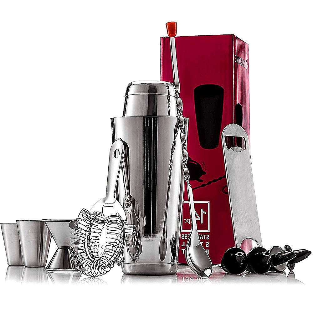 Linqly Cocktail Bartending Kit,14PCS Stainless Steel Cocktail Set Bartender Kit Stainless Steel Shaker Mixer Drink Wine Tools for Cocktail