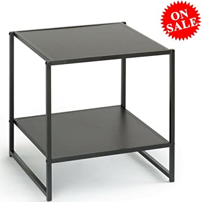 Multipurpose End Table with Open Shelves Wood And Metal Espresso Brown Square Small Modern Heavy Duty Acceny Side Table For Living Room and Bedroom eBook by Easy&FunDeals