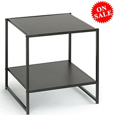 Multipurpose End Table With Open Shelves Wood And Metal Espresso Brown  Square Small Modern Heavy Duty
