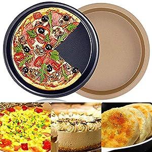 FANDE 2 Pezzi Teglia per Pizza Antiaderente, Acciaio al Carbonio da 9 Pollici Teglia per Pizza Rotonda Antiaderente…