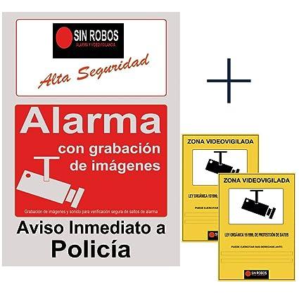 Cartel alarma casa gris y rojo.Cartel disuasorio con camara seguridad exterior y sistema ...