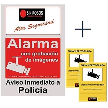Docliick®. Cartel alarma casa gris y rojo.Cartel disuasorio con camara seguridad exterior y sistema de fijación. Regalo de 2 vinilo de cartel alarma ...