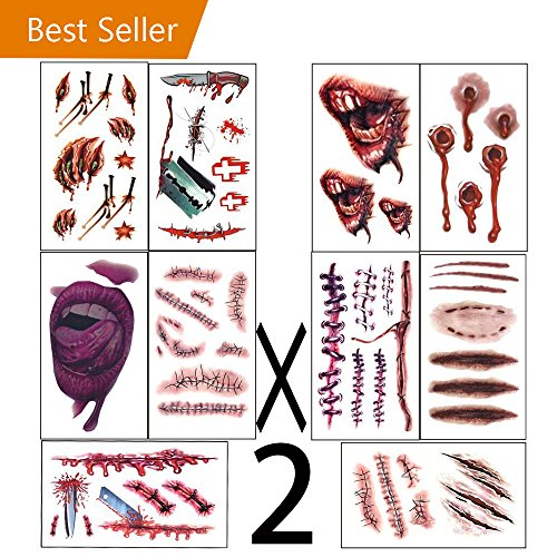 halloween costumes  zombie tattoos,Makeup For Halloween Party Prop decorations, Body Scar Stickers for Cos Play by Dream Loom (20 sheet)