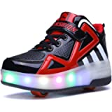 Ufatansy Roller Shoes Colorful LED Lights Kids Roller Skate Shoes Fashion Sneakers for Girls Boys High-top Shoes
