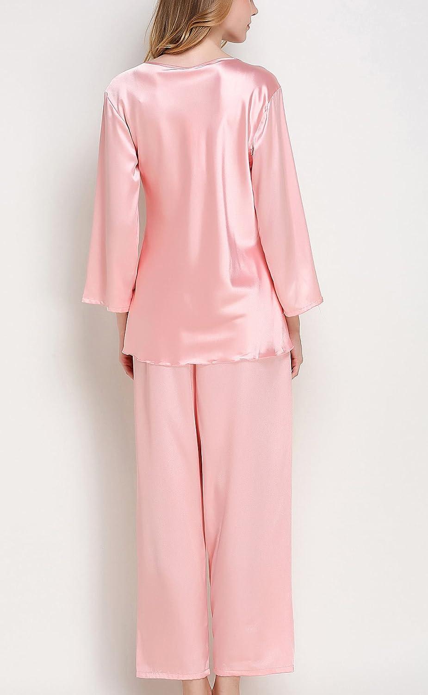 Sihuan Pijamas de 2 Piezas Camis/ón de Sat/én Ropa de Dormir Confortable Suave Elegante Encaje de Mujeres Chicas para Noches