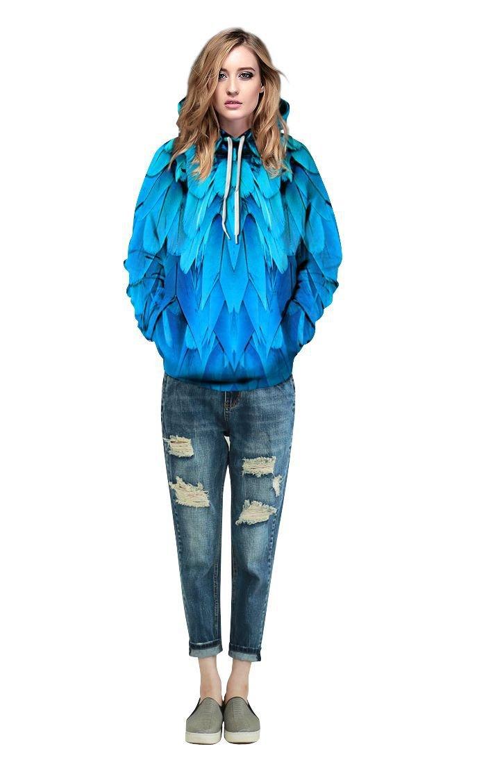LiuHanqing Sudadera Impresión Digital De Plumas Azules Hat Hat Hat Hat Suéter Femenino En 3D con Gran Código Chompa Par Llevar Traje De Béisbol,S/M,como Una Imagen 75f8e9