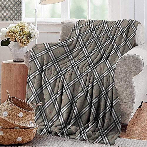 XavieraDoherty Flannel Throw Blanket,Abstract,Royal Scottish Tartan Featured Ethnic Tribal Aristocrat Medieval Design,Grey Black White,for Bed & Couch Sofa Easy Care 60