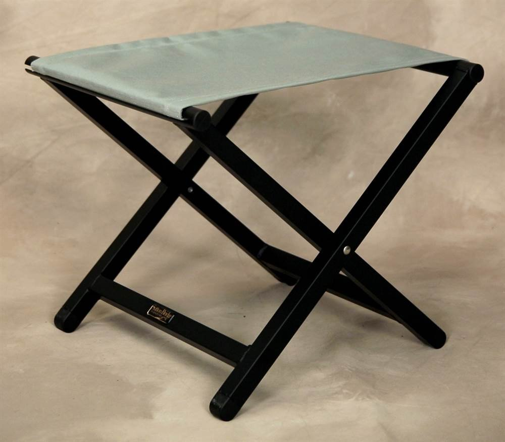 Folding Aluminum Director Style Footstool w Spa Fabric Top