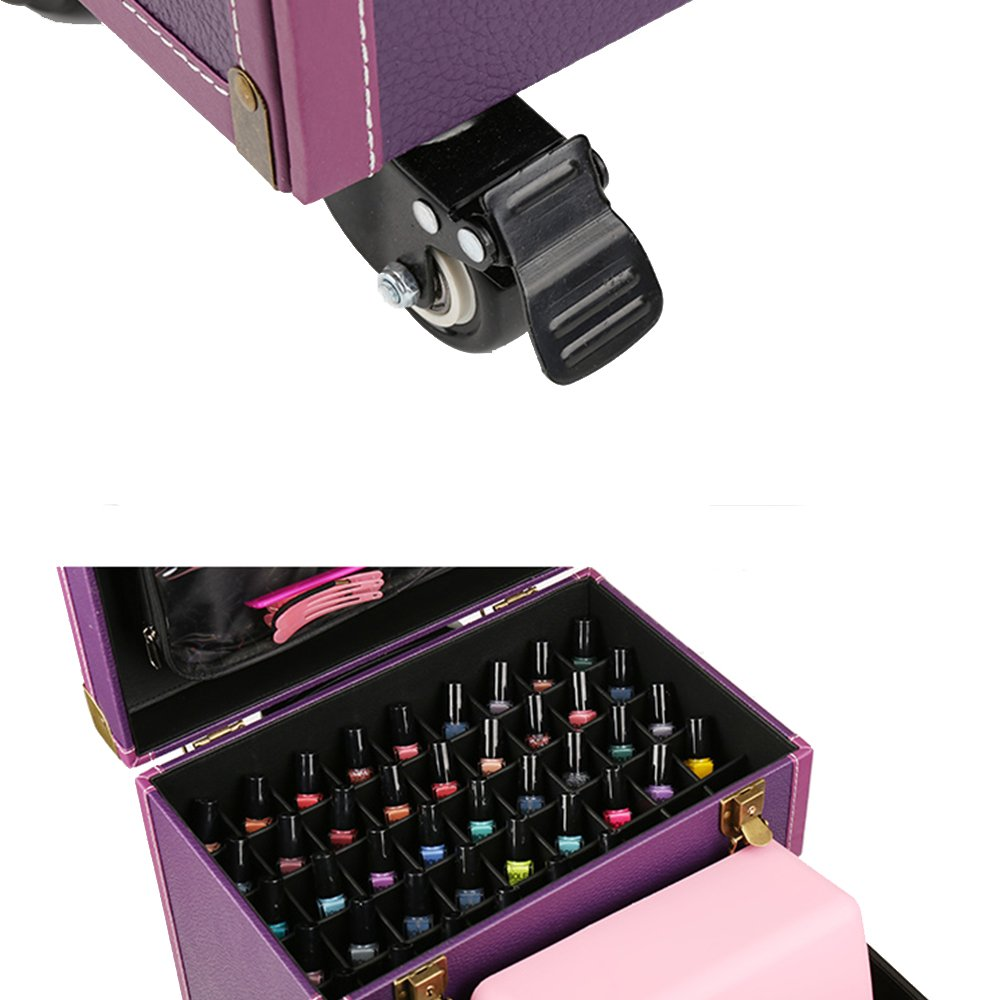 Lean Beauty Rolling Leather Makeup Case Travel Toiletry Case Nail Art Storage Bag on Wheel (Purple) by Lean (Image #4)