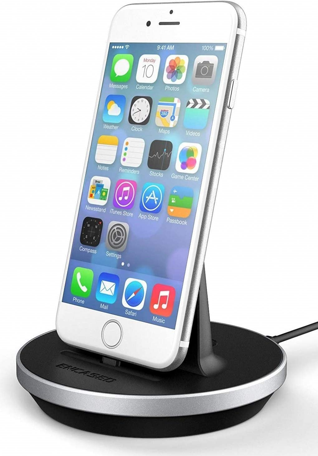 Encased iPhone Webcam Phone Mount - Apple MFi Certified, Adjustable Lightning Desktop Dock (Charge + Sync Compatible) for iPhone 7/8 Plus X XR XS Max, iPhone 11 Pro/Max (Aluminum/Black)