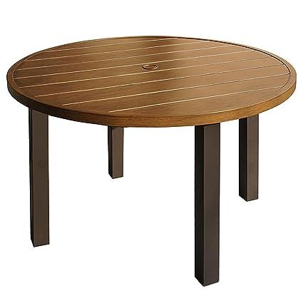 amazon com kozyard belton 42 round wood like metal dining table rh amazon com