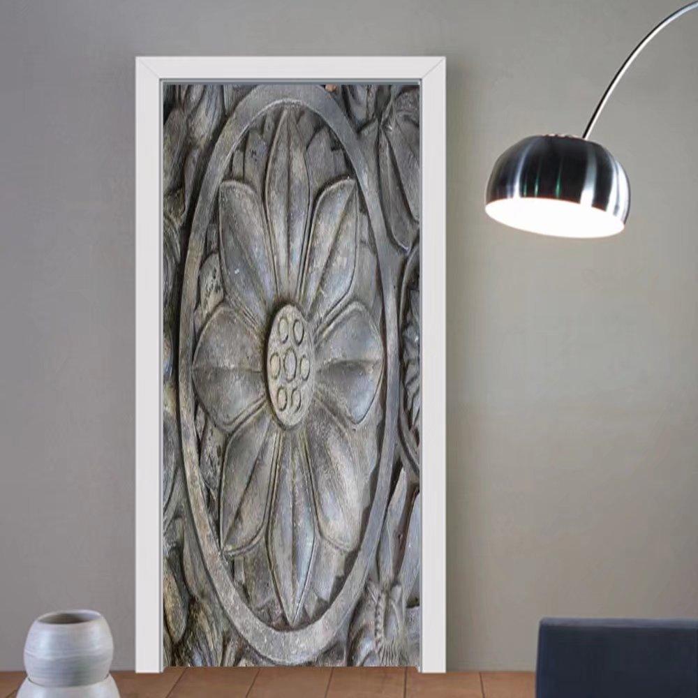 Niasjnfu Chen custom made 3d door stickers Stone Carving Fabric Home Decor For Room Decor 30x79