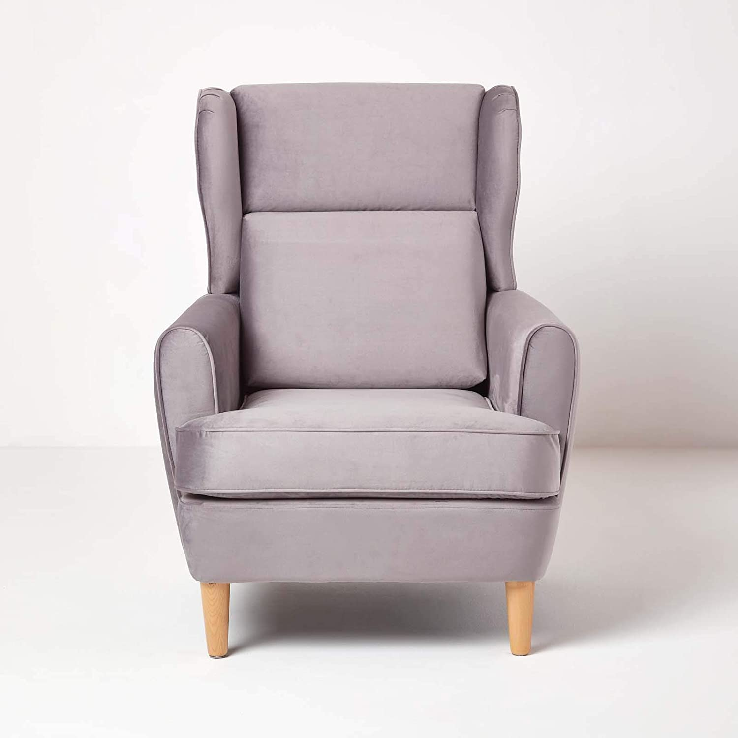 HOMESCAPES Silver Grey Velvet Armchair Soft Upholstered Wing Back Fireside Armchair /'Rita/' Reading or Accent Retro Chair for Living Room