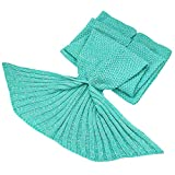 Clearance Sale!!! Mermaid Tail Blanket for Adult Kids Soft Hand Crochet Sleeping Bag for Girls Women in Sofa Bed Living Room (Adult, Plain- Mint)