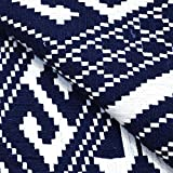 Shopolics Blue and White Square Pattern Cotton Jacquard Fabric-31012 For Sofa Decorate, Home Decorate, Fabric (1 Meter)