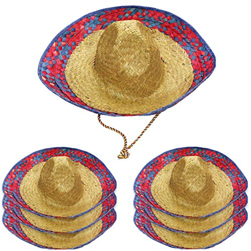 Funny Party Hats Sombrero Hats - 6 Pack -Child and Adult Sizes Costume and Dress Up -