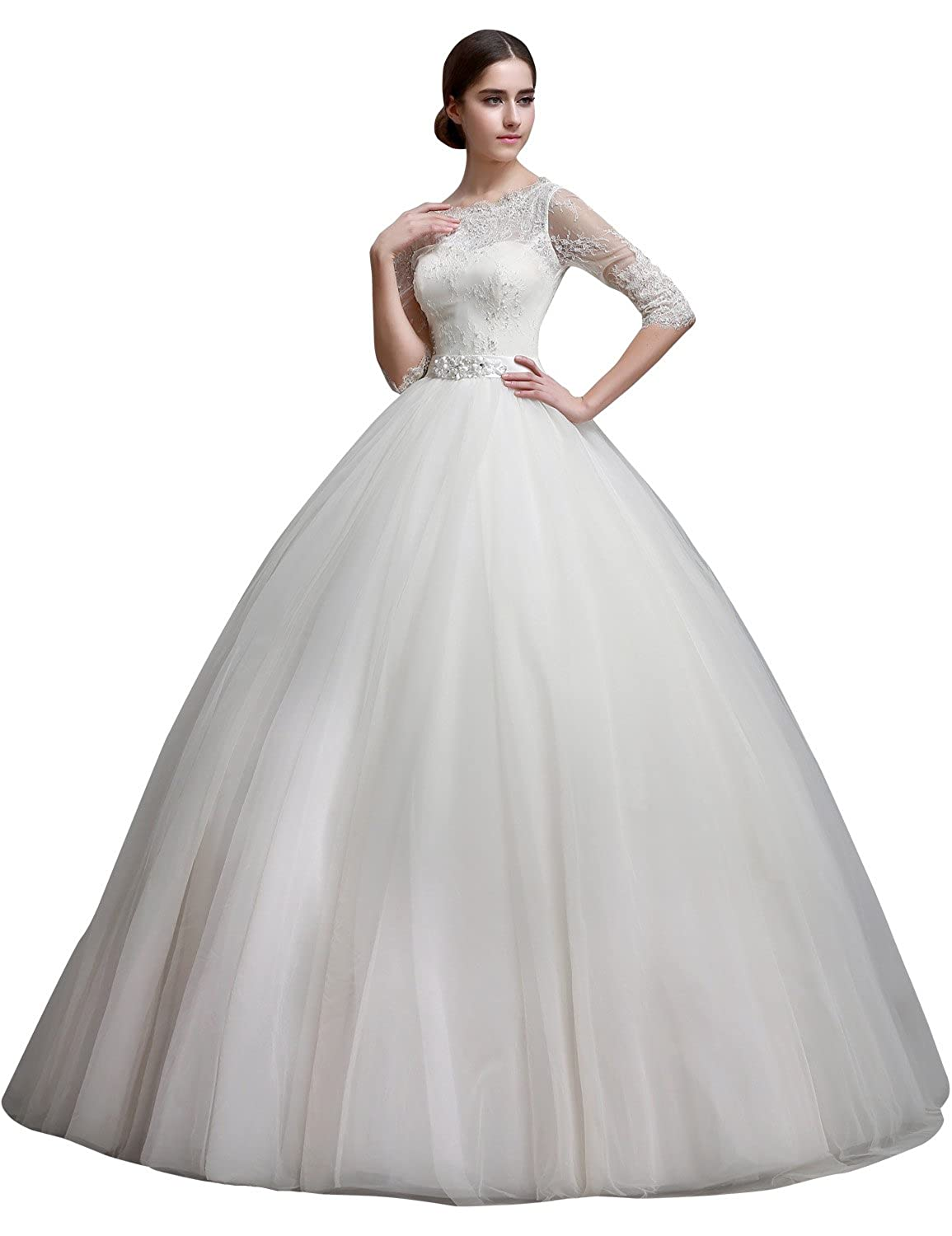 Sarahbridal Women's Long Sleeve Sheer Neck Wedding Brides Dresses Lace Bridal Ball Gown with Beaded SSQS01