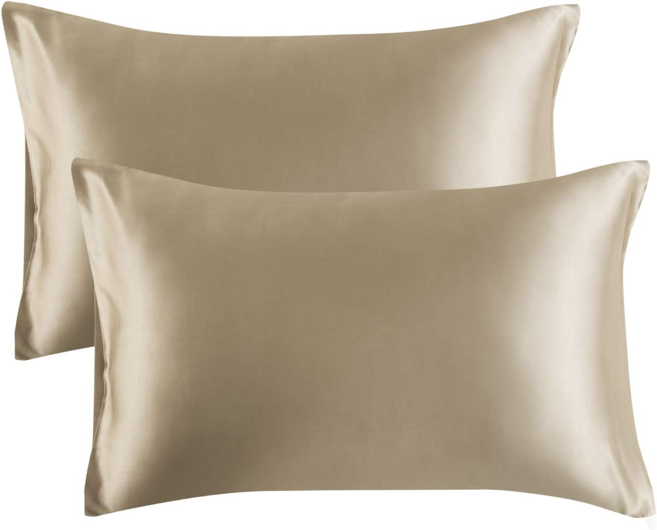 Bedsure Satin King Size Pillow Cases Set of 2, Taupe, 20x40 inches - Pillowcase for Hair and Skin - Satin Pillow Covers with Envelope Closure
