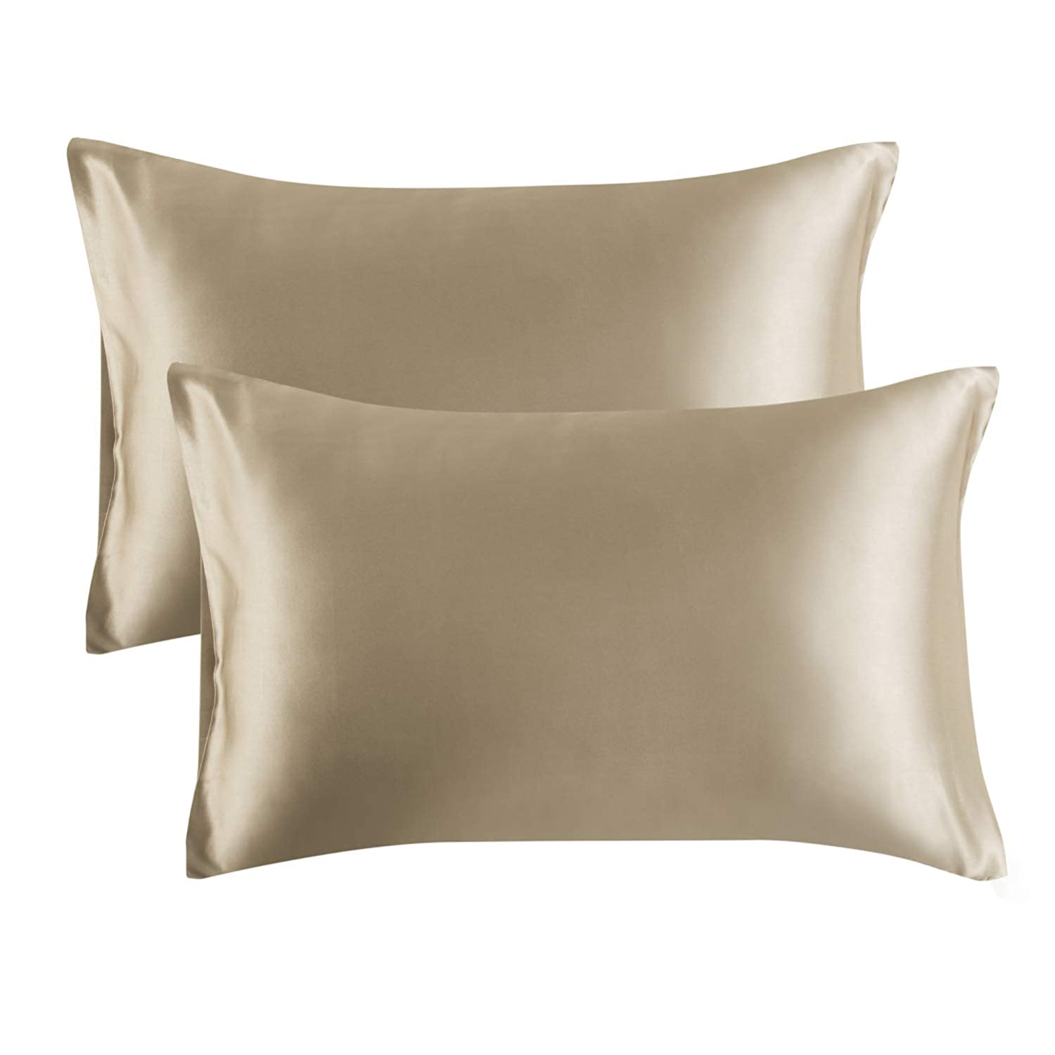 Bedsure Satin Pillowcase for Hair and Skin, 2-Pack - Queen Size (20x30 inches) Pillow Cases - Satin Pillow Covers with Envelope Closure, Taupe
