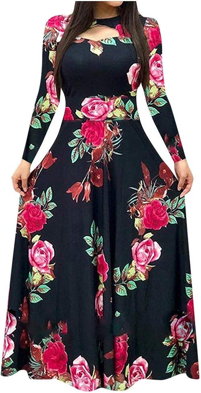 Trolimons Women Long Sleeve Dress Floral Boho Print Long Dress Ladies Casual Fashion