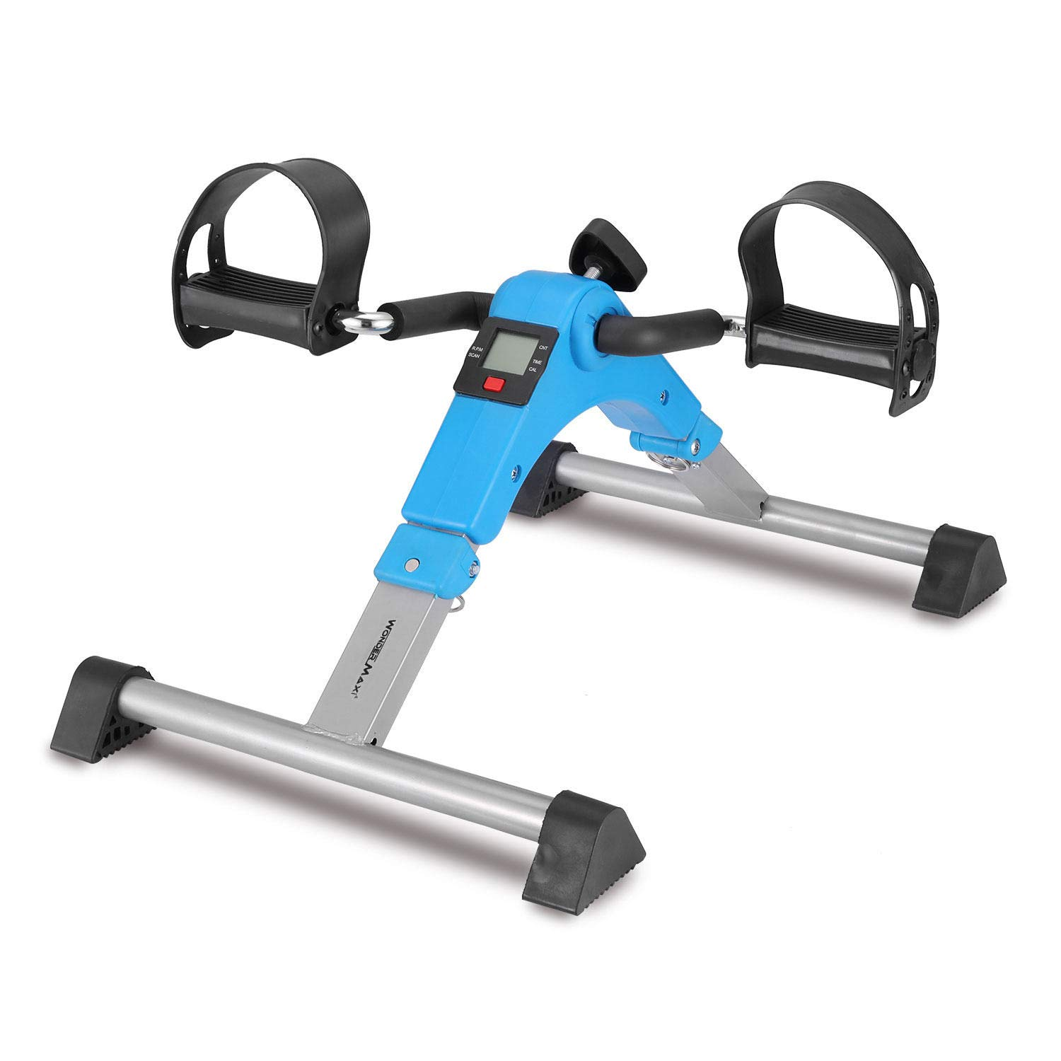 Under Desk Bike Pedal Exerciser, Foldable Mini Exercise Bike Equipment with Electronic Display for Legs and Arms Workout (Blue) by Wonder Maxi