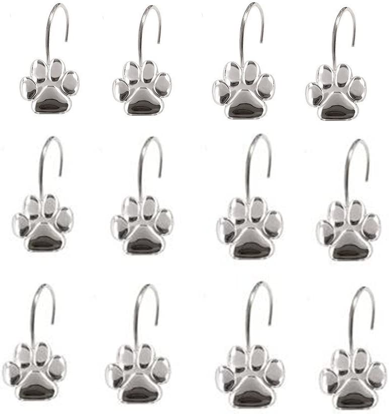 AsgenoX 12PCS Durable Paw Print Shower Curtain Hooks for Doggie Shower Curtain and Pit Bull Theme Bathroom, Kids Room Baby Room, Bedroom, Living Room Decor
