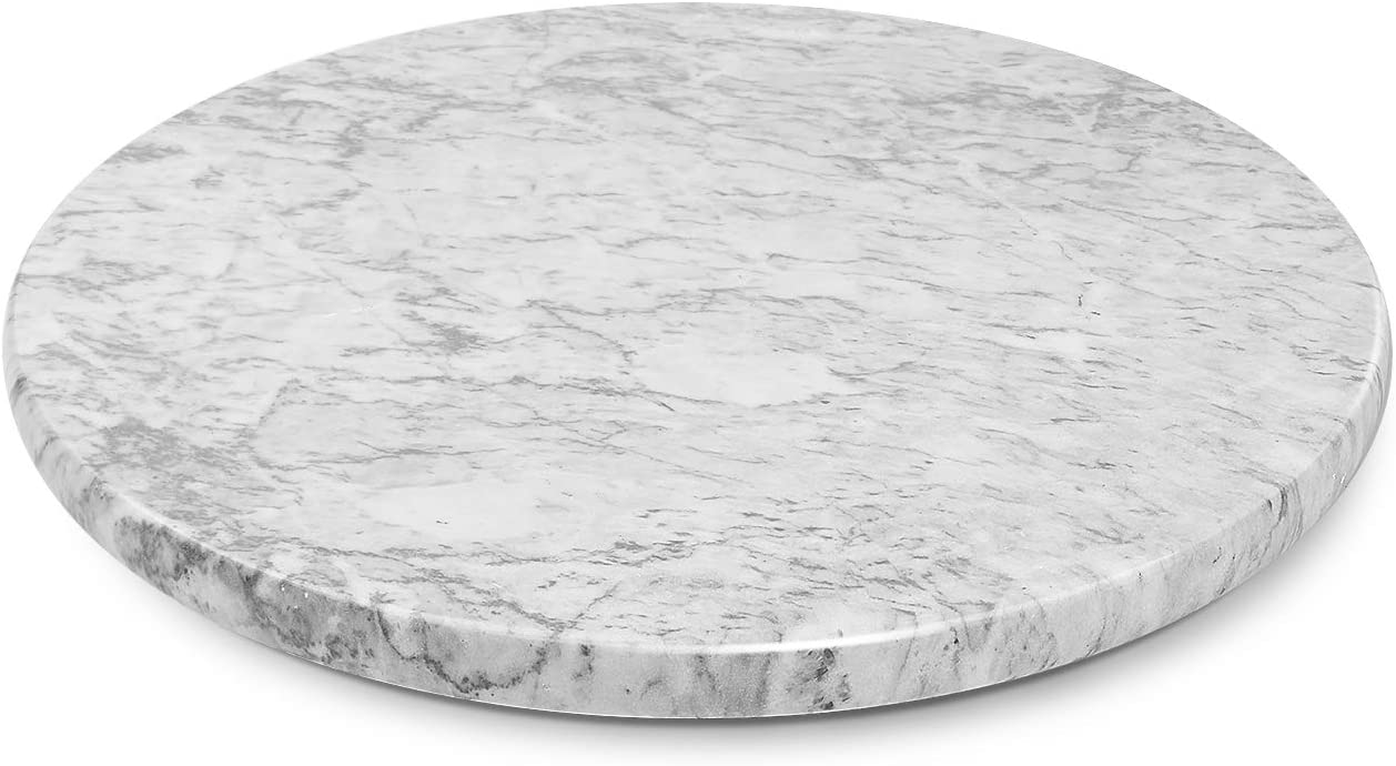 Flexzion Marble Pastry Board - Gray/White, 12 inch Round Non-Stick Stain & Heat Resistant Charcuterie Cheese Dough Cutting Serving Cutlery Board Tray for Parties, Kitchen