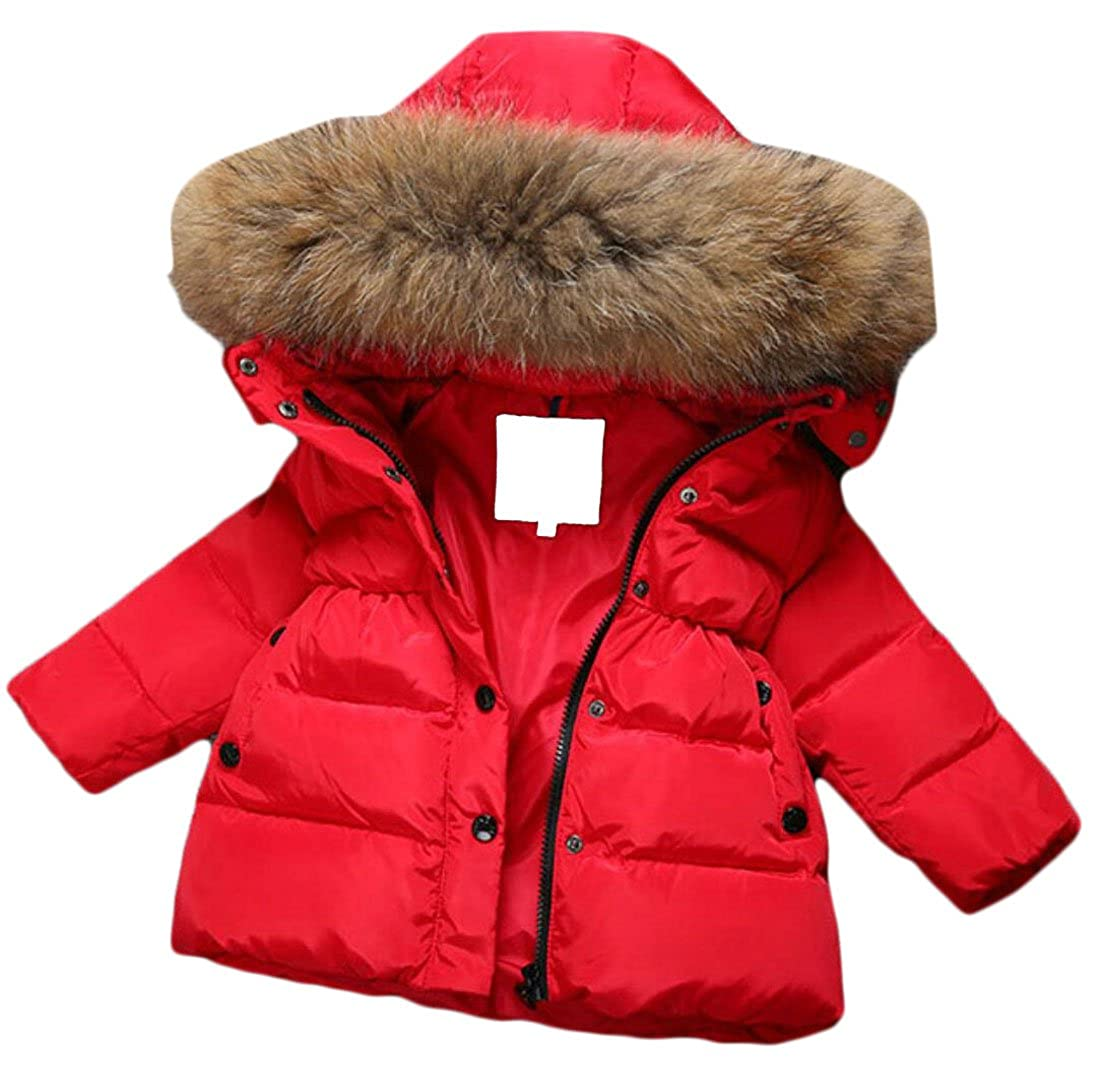 M& S& W Girls Hooded Snowsuit Faux Fur Collar Hooded Down Windproof Jacket Outerwear