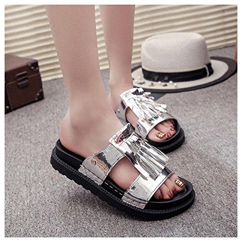 Sandalias De Verano, Inkach Sandalias De Verano Para Mujer Sandalias De Flecos Romanas Sandalias De Mujer Zapatos De Plata