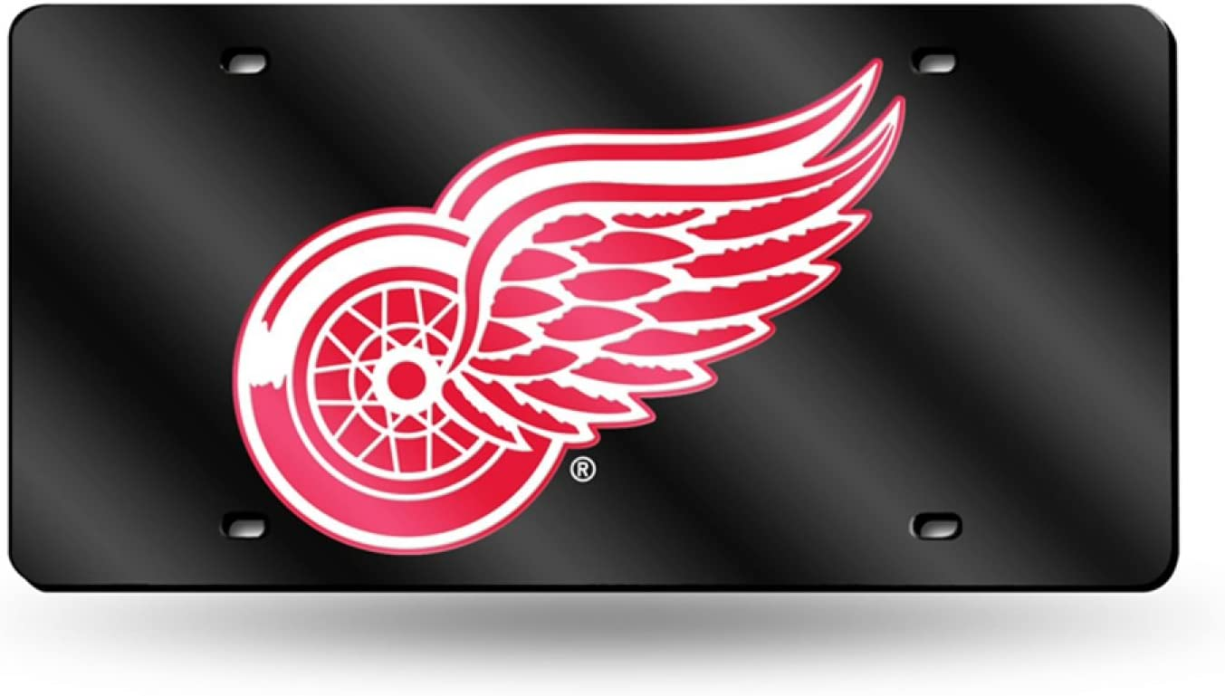 Rico Detroit Red Wings Deluxe Mirrored Laser Cut License Plate