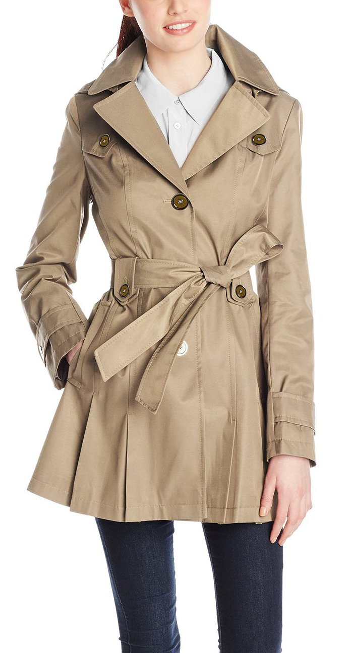 Neonysweets Women's Hooded Trench Coat Single-Breasted Belted Jacket Khaki M