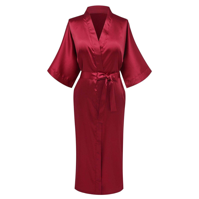 Goodmansam Women's Simplicity Style Nightwear Elegant Kimono Robes, Long,Small,Blood Red3