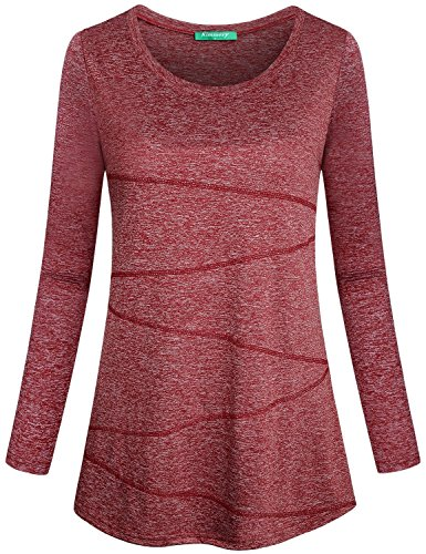 Kimmery Gym Tops for Women, Junior Running Shirt Round Neck Loose Fitting Pullover Wicking Fabric Breathable Comfy Active Wear Tunic Easy to Wear Red XX Large ()