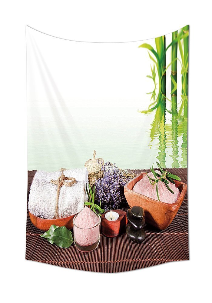 Spa Decor Tapestry Bamboo Background with Towel Flowers Candle and Zen Hot Massage Stones Wall Hanging for Bedroom Living Room Dorm Green White and Brown