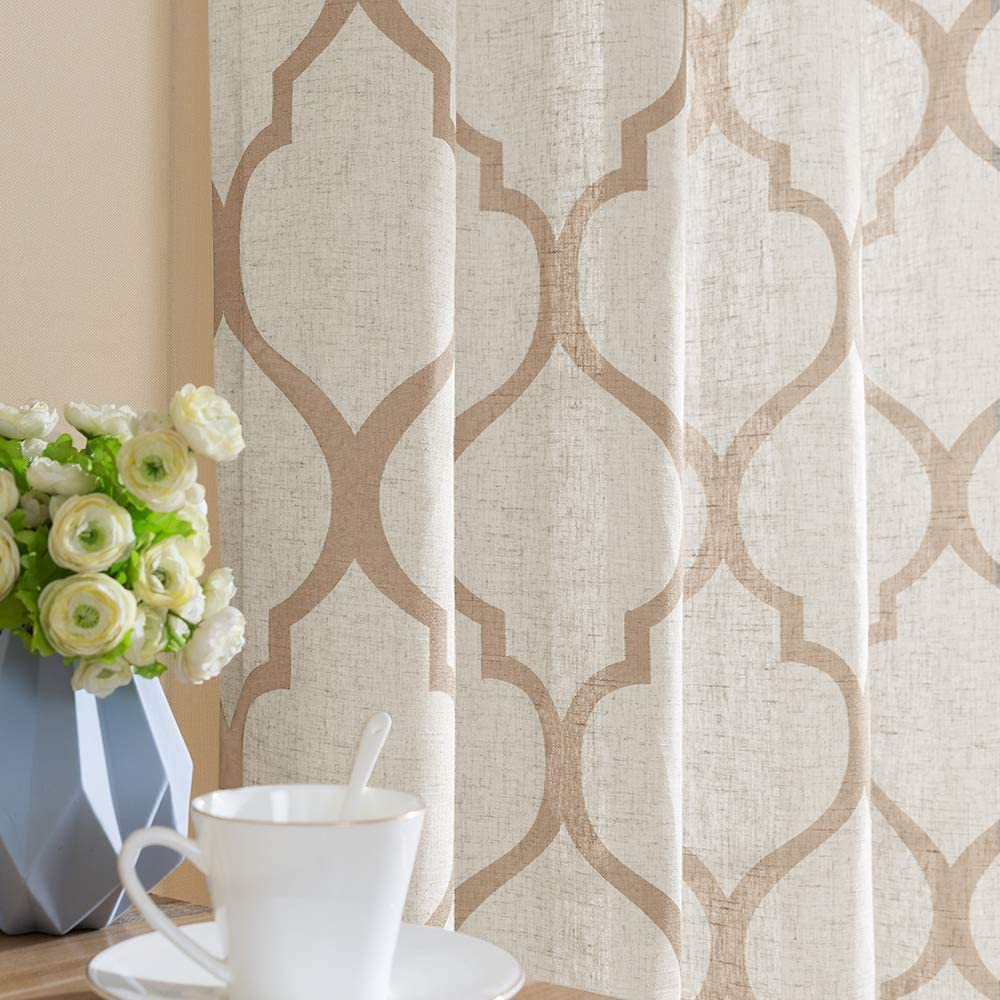 jinchan Moroccan Tile Linen Textured Curtains Printed Curtain Panels Bedroom Living Room Lattice Window Treatment 2 Panel Drapes 84 inches Long Taupe