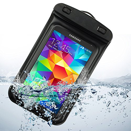 Waterproof Pouch Dry Bag for Samsung Galaxy S5 S 5 SV / S5 ACTIVE 2014 smartphone (Black) by ECCRIS