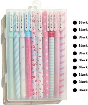 Ciaoed 10 Pack Plumas de Gel Negro Escritura Suave Bolígrafos de ...