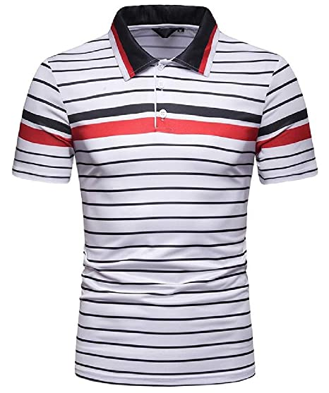 236a0d2b616 GUOCAI Men Stripe Print Classic Lapel Collar Slim Casual Short Sleeve Summer  Golf Polo Shirt White