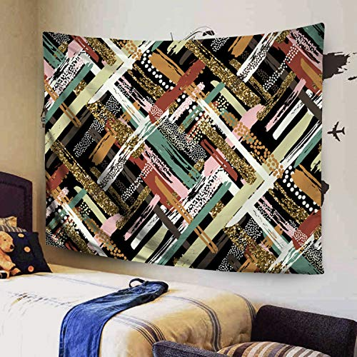 0 Inches Size of Tapestry by Pattern Gold Glitter Textured Brush Strokes Stripes Painted Black White Pink Green Red Brown Tapestries Wall Art for Décor Dorm Bedroom Living Home ()
