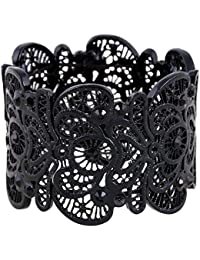 Womens Bohemian Lace Bracelet Vintage Filigree Cuff Bangle Bracelet Wide Stretch Rhinestone Bracelets for Ladies