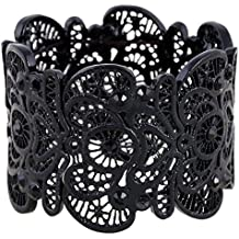 Christmas Gift D EXCEED Ladies Gift Idea Vintage Lace Pattern Filigree Crystal Statement Bib Stretch Bangle Bracelet for Women 7""