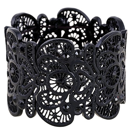 D EXCEED Womens Bohemian Lace Bracelet Vintage Filigree Cuff Bangle Bracelet Wide Stretch Rhinestone Bracelets for Ladies Black