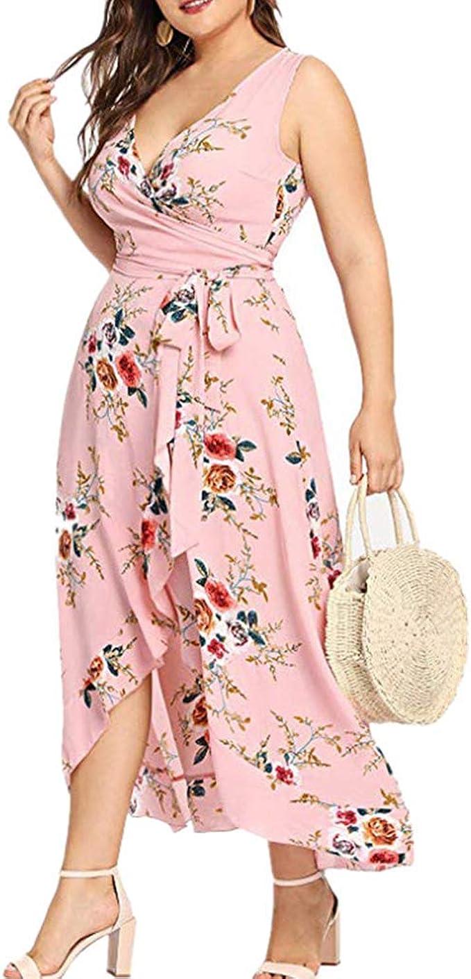 LOPILY Abendkleider Große Größen Blumen Druckkleider Eleganter